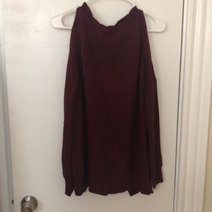 NWOT: maroon ladder back/ cold shoulder sweater